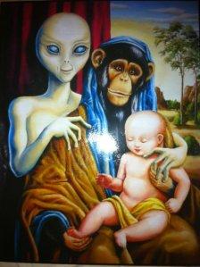 ba3f2f46c913118327e94ec7f81f5690-alien-chimp-and-baby-painting